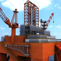 Oil Rig Semi Submersible 3D Model