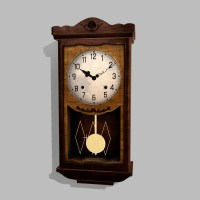 Antique Pendulum Wall Clock PBR 3D Model