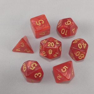 Dice Marbled Red with Gold Numbers Dice