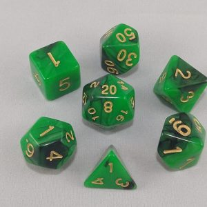 Dice Gemini Lime/Black with Gold Numbers Dice