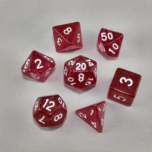 Dice Glitter Red Polyhedral Dice Set