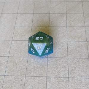 Dice Blue/Green Jumbo Edged D20