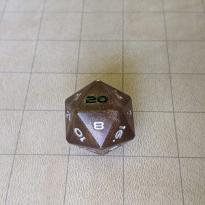 Dice Sparkled Rust Jumbo Edged D20