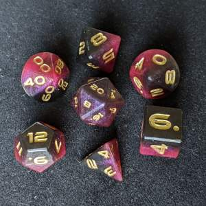 Dice Red/Black Edged Polyhedral Dice Set