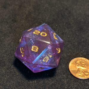 Jumbo Dice Purple Rainbow Holographic Jumbo Edged D20