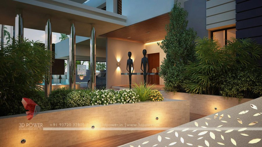 bungalow-3d-landscape-design-night-view-Plant Evergreen plants & Seasonal Flowers in Your Garden