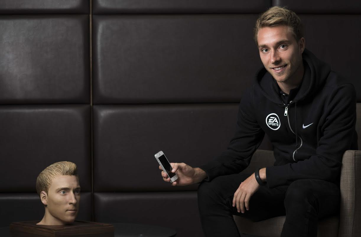 Tottenham Hotspur player Christian Eriksen, with his 3D printed head