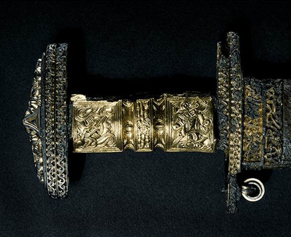 The hilt of the original, 6th-century sword.