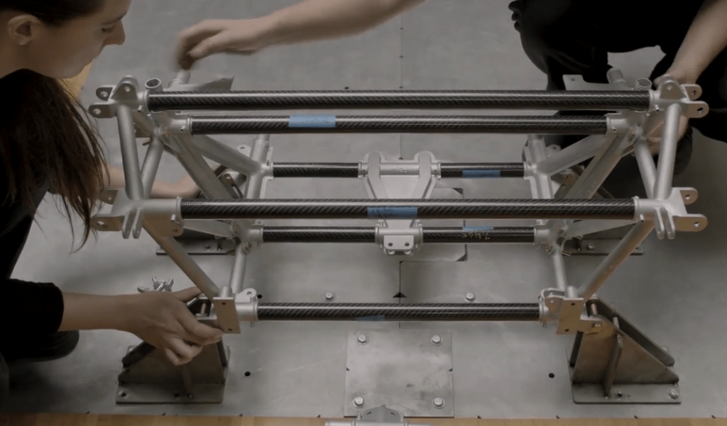 Assembling of the 3D printed nodes and carbon fiber tubing to construct the chassis