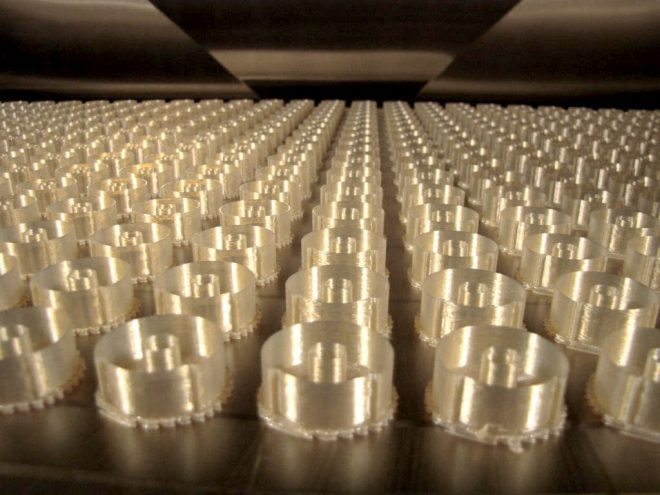 ULTEM 9085 housings for aerospace parts. Photo via: Stratasys