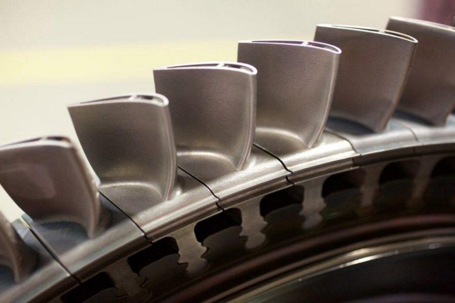 3D printed nickel supper alloy turbine blades. Photo via: Siemens