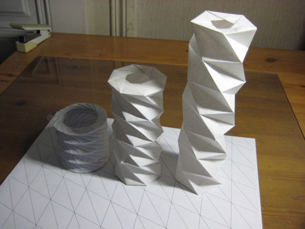 Twisted tower origami paper designs. Photo via sphere360 on Instructables