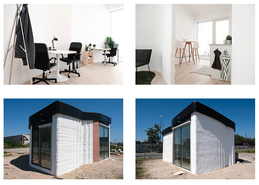 Interior and exterior of The Bod 3D printed office. Photos via 3D Printhuset.
