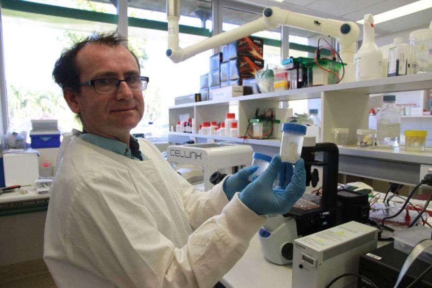 Microbiologist Dr Padraig Strappe with a croc cartilage. Photo via ABC News
