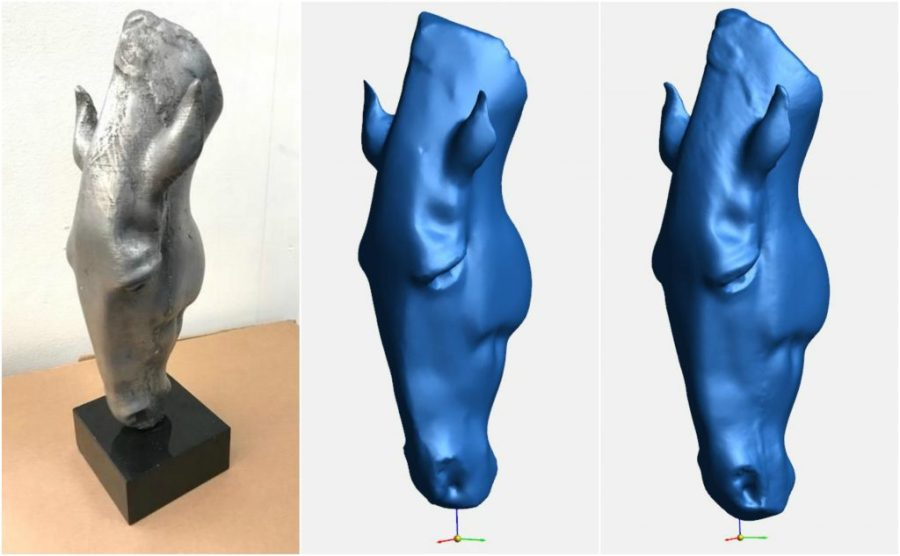 From left: 3D printed and silver sprayed replica of the Marwari Horse Head sculpture vs scan Test 3A and Test 3B.