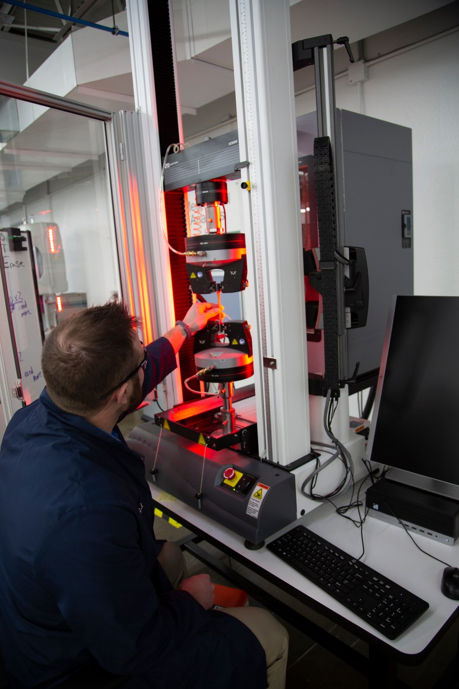 Strength Testing: Each engineered material undergoes rigorous strength testing to validate durability and performance for a variety of applications. Photo via Jabil.