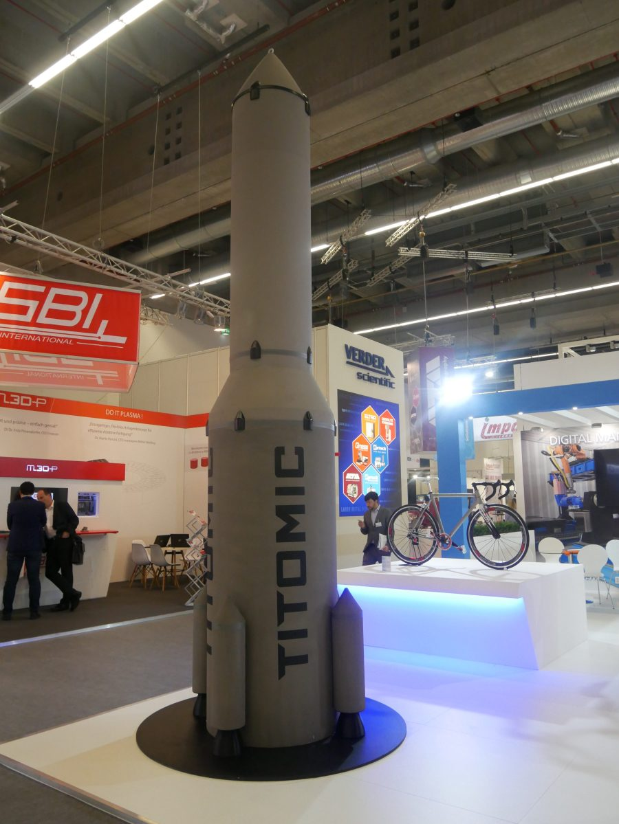 The 3D printed, 5.5-meter rocket made by Titomic. photo by Tia Vialva.