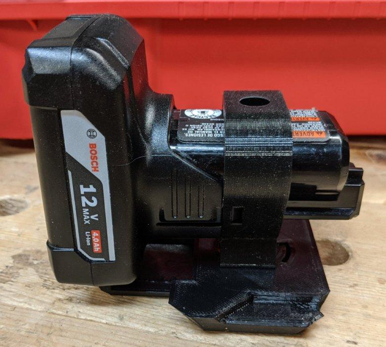 Closeup of Bosch Locking Battery Holder
