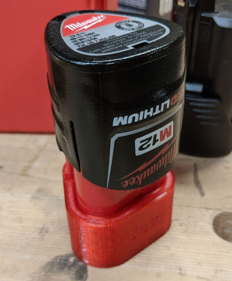 M12 Battery Cap -- Friction Fit Holder