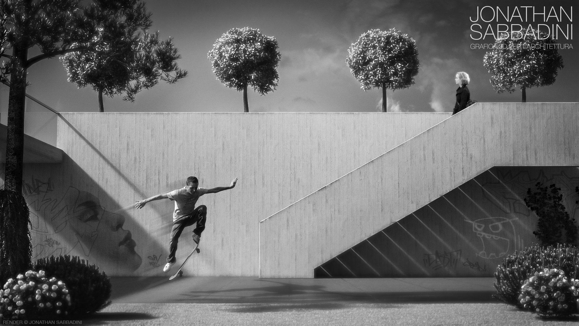 Il muro in cemento decorativo, studio di materiali per render fotorealistico