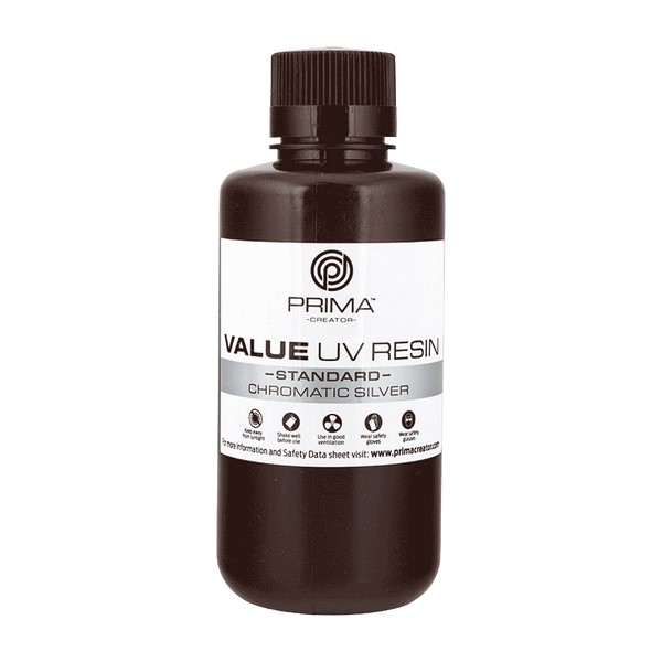 STANDARD UV DLP Resin CHROMATIC SILVER 500ml - PrimaCreator