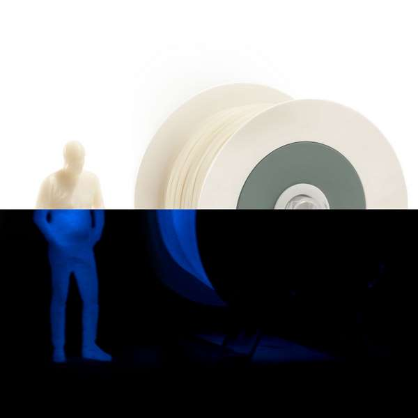 EUMAKERS PLA filament Photoluminescent Ivory White   Cyan 1.75mm 1000g