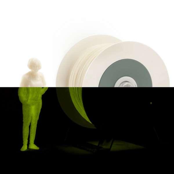 EUMAKERS PLA filament Photoluminescent Ivory White   Yellow 1.75mm 1000g