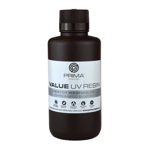 Water Washable UV DLP Resin CHROMATIC SILVER 500ml - PrimaCreator