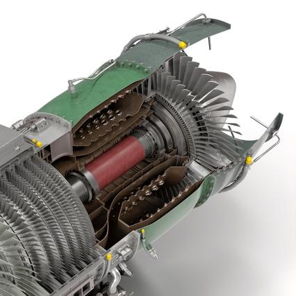 Turbojet Engine General Electric J85 Sectioned 3d Model