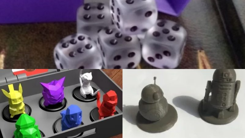 3D printed board game pieces, Star Wars and Pokémon Monopoly pieces, 3D printed dice