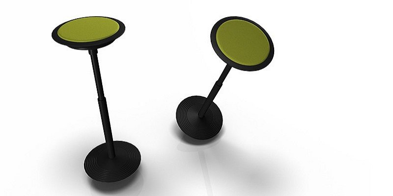 "The ""Sitz 2-201,"" a height-adjustable stool with a circular base."