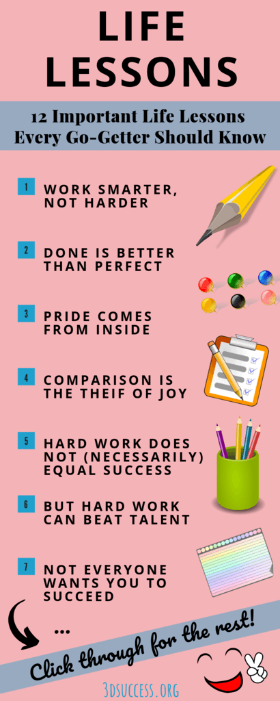 life lessons infographic pink