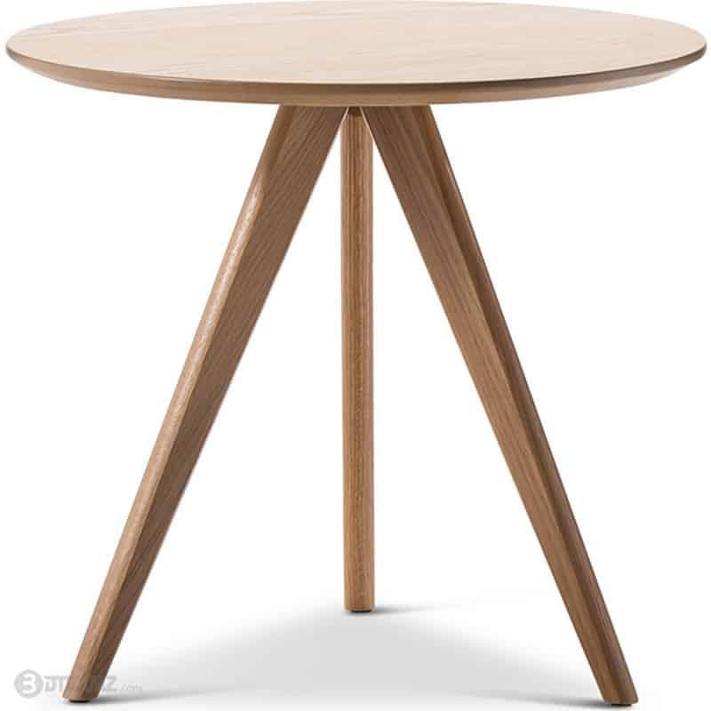 scandinavian round side table 3 legs 3d