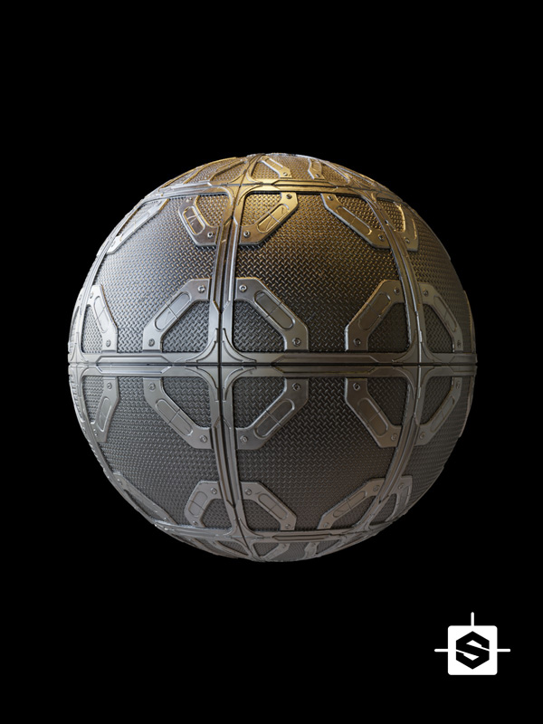 free seamless pbr metal plate scifi texture