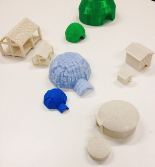 3D printed Native American dwellings