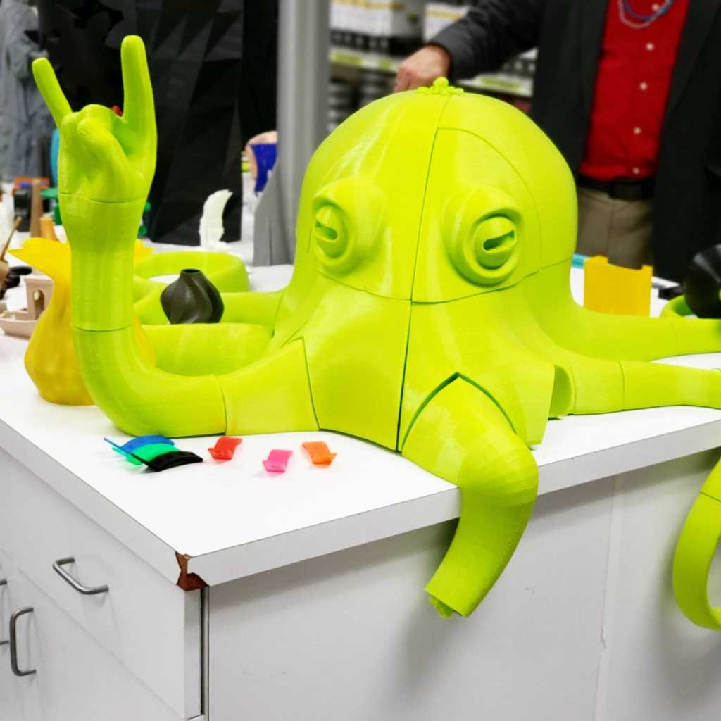 "The LulzBot ""Rocktopus"" mascot, throwing up some ""Rock On"" fingers at the Lulzbot (Aleph Objects) factory  tour in Loveland, Colorado."