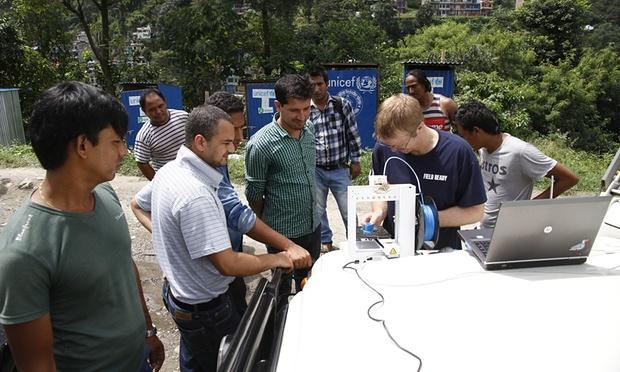 Humanitarian aid teams from Field Ready 3D printing parts to repair a water system in Nepal.