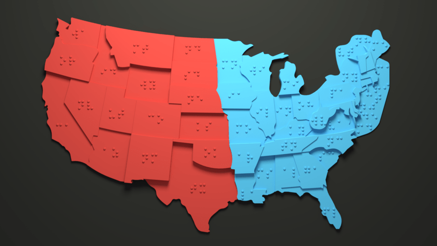 A 3d printed map of the USA with Braille for the visually impaired.