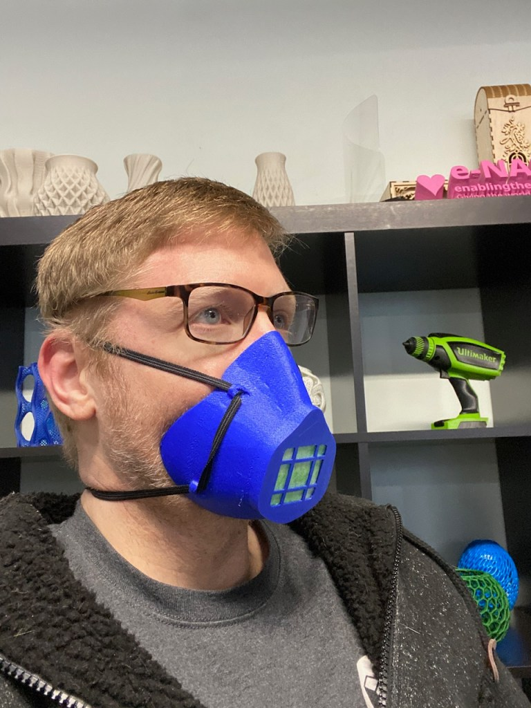 3D Printed BECMv1 - (Buffalo e-NABLE Crisis Mask) being worn by Jeremy from 3D Universe