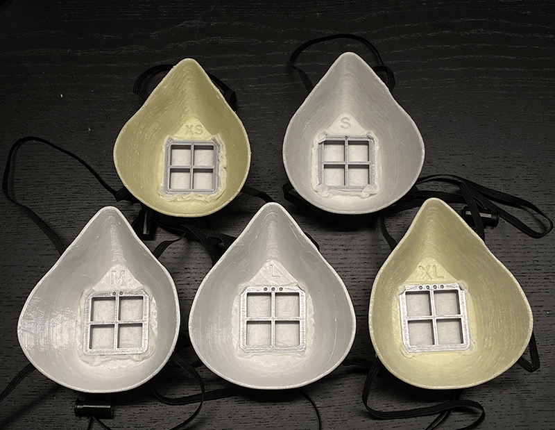 All five sizes for the 3D Printed BECMv1 - (Buffalo e-NABLE Crisis Mask) displayed in one photo