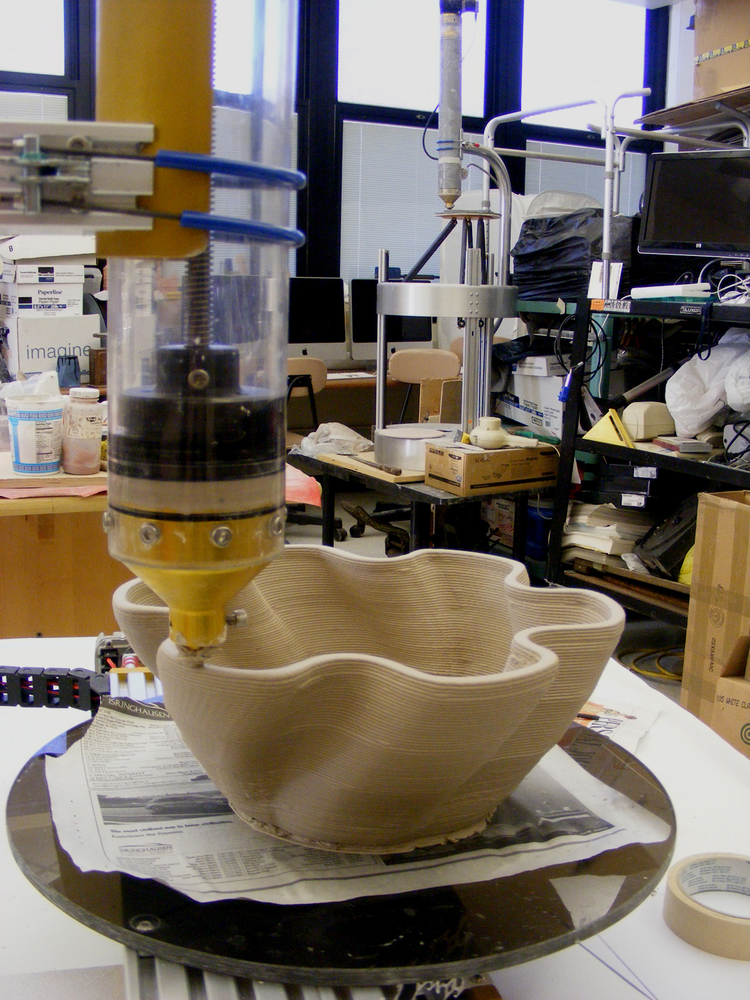 The 3D Potter 3D Printer creating a ceramic bowl from clay