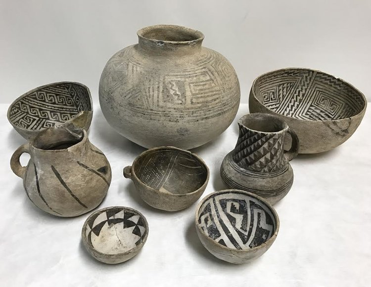 Ancient clay and ceramic pottery