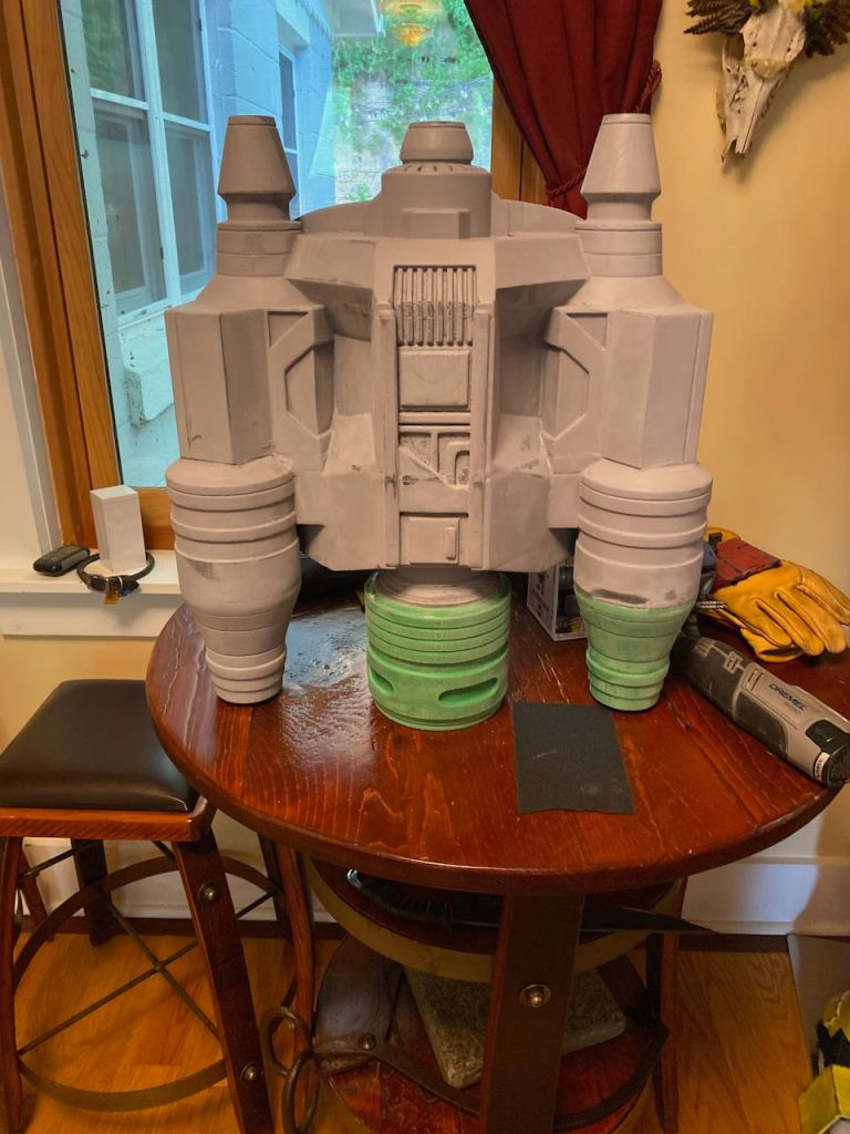 Completed Serial Kilter 3D Printed Heavy Infantry Mandalorian Armor jetpack before painted