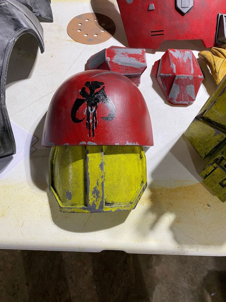 Serial Kilter 3D Printed Heavy Infantry Mandalorian Armor getting weathered and painted