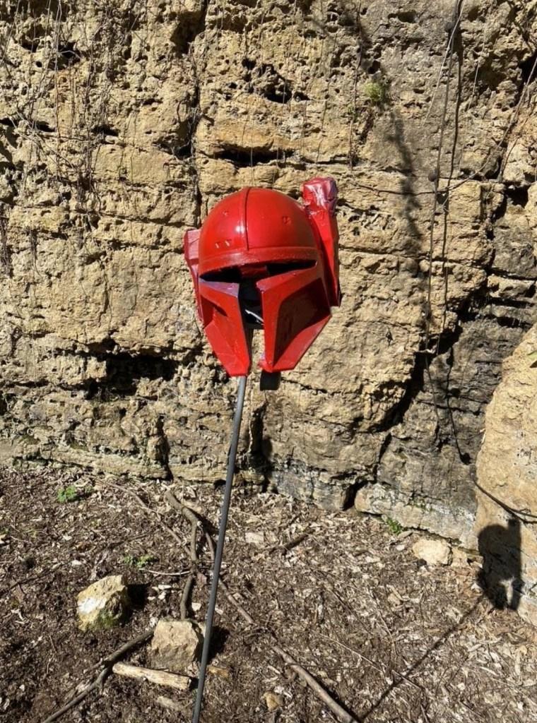 Serial Kilter 3D Printed Heavy Infantry Mandalorian Armor helmet getting painted red