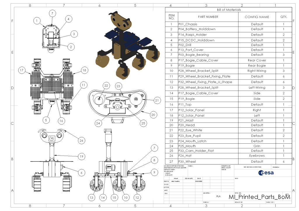 Image of instructions and parts for the ExoMy Mars Rover