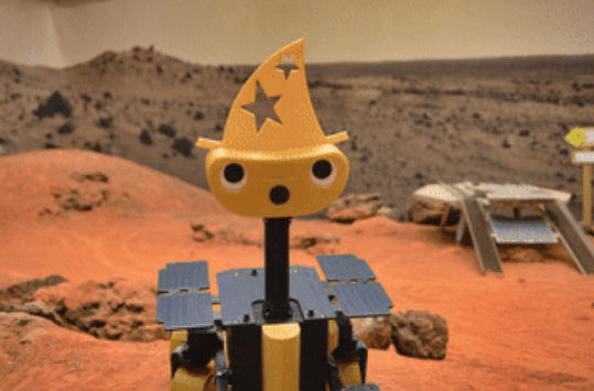 ExoMy 3D printed Mars Rover with a silly hat