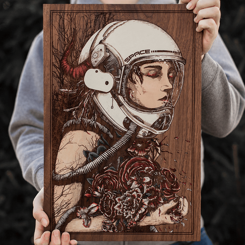 Laser Engraved painting of a fantasy character astronaut