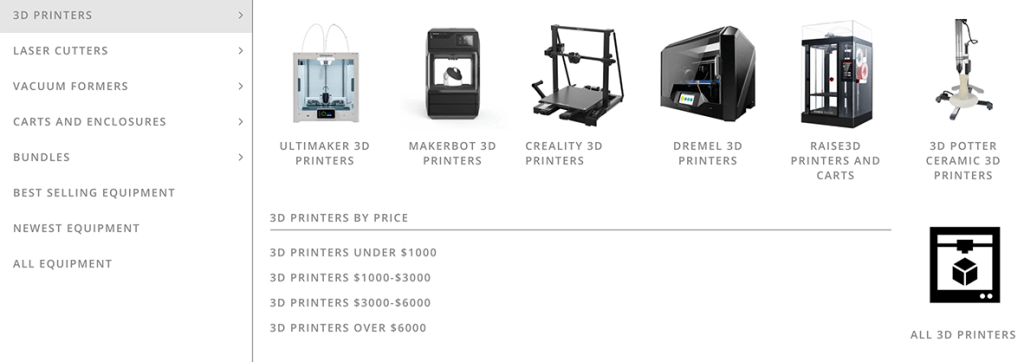 3d Universe website update showing 3D printers, laser cutters and more.