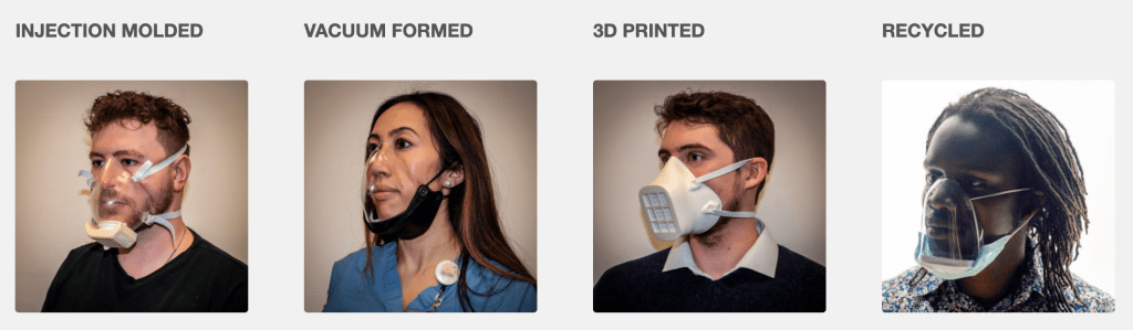 A variety of open-source PPE mask designs for the COVID pandemic.